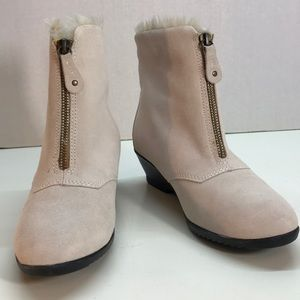 Sporto Pink Fur Lined Bootie Front Zipper Size 5.5